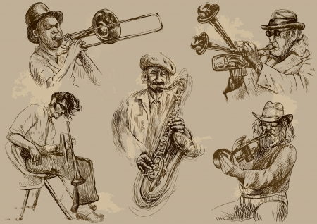 Musicians - Collection of hand drawings converted  Vector