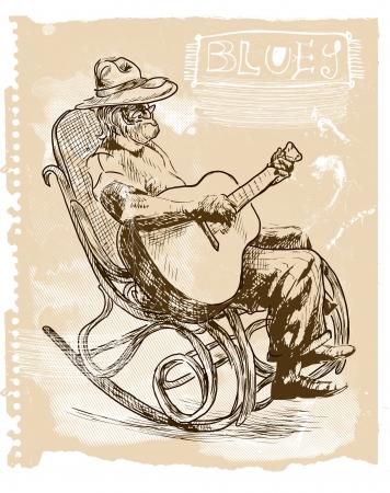 Guitar player - An hand drawn illustration Illustration