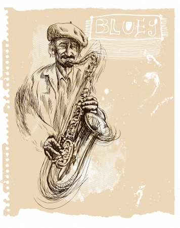Saxophone player - An hand drawn illustration Vector