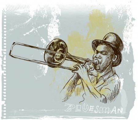acustica: Tromba giocatore - Una mano disegnato illustrazione
