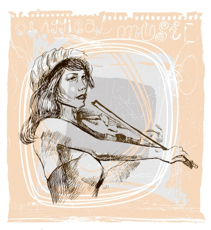 Violin player - An hand drawn illustration Vector