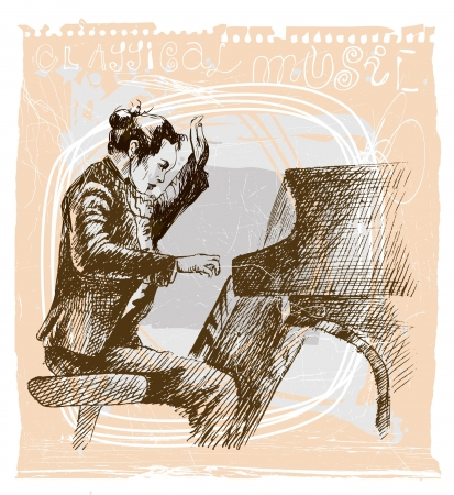 Piano player - An hand drawn illustration Vector