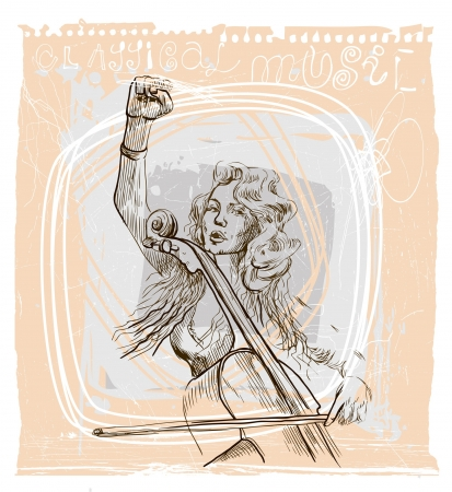 Cello player - An hand drawn illustration Vector