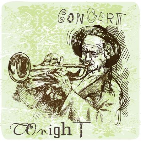 Trumpet player - An hand drawn illustration