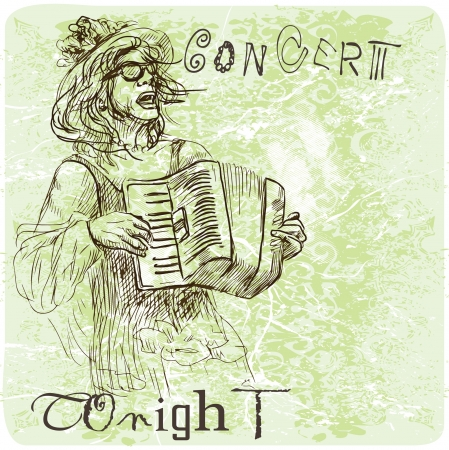 Accordion player - An hand drawn illustration