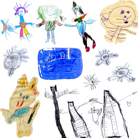 Collections of children s scribbles  photo