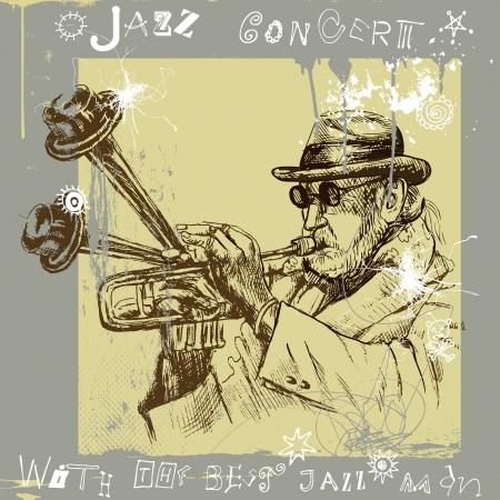 virtuoso: Trumpet player - An hand drawn illustration