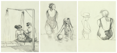 Afternoon at the swimming pool  An hand drawn illustrations illustration