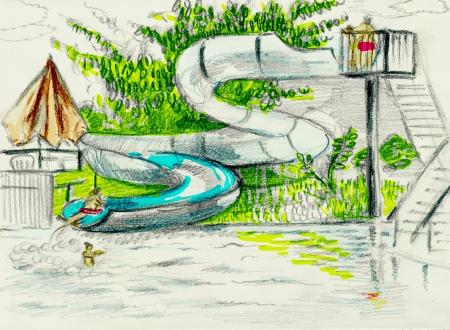 water slide: Swimming pool, water slide  Coloring pencil drawing  Stock Photo