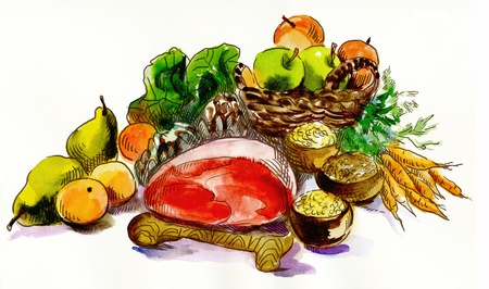 Food, still-life  Meat and vegetables  An hand drawn illustration, watercolors technique  illustration