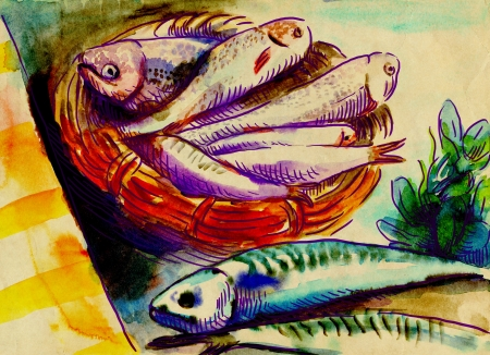mackerel: Fishes  An hand drawn illustration - watercolors technique on old paper