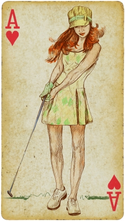 poster on wall: Mixed Media - Young Golf Player Stock Photo