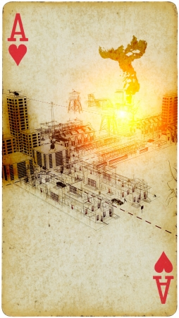 Mixed Media - Nuclear Explosion in a Factory District Stock Photo - 21437750