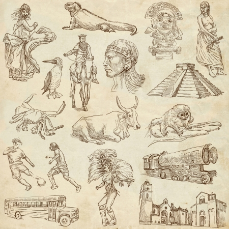 pygmy: South America no 2 - collection of hand drawn illustrations on old paper