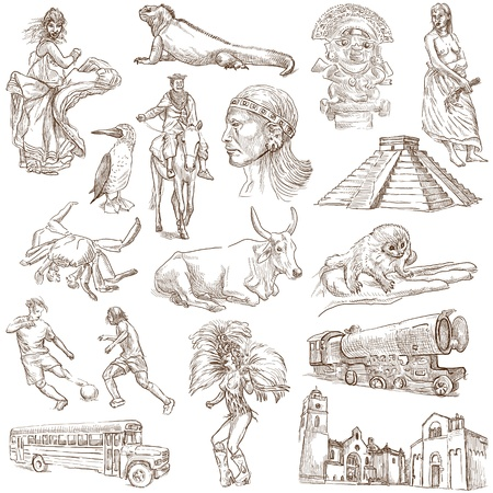 pygmy: South America no 2 - collection of hand drawn illustrations on white Stock Photo