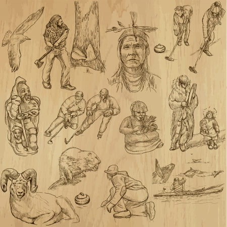 mouflon: Canada - part 1 - an hand drawn illustrations converted into vector set Illustration
