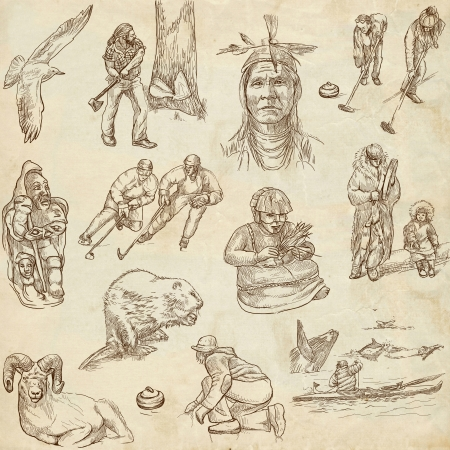 canada aboriginal: Canada - hand drawn illustrations - part 2 - old paper