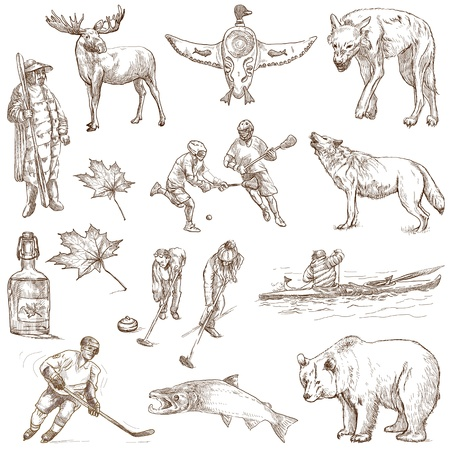 canada aboriginal: Canada - hand drawn illustrations - part 1  Stock Photo