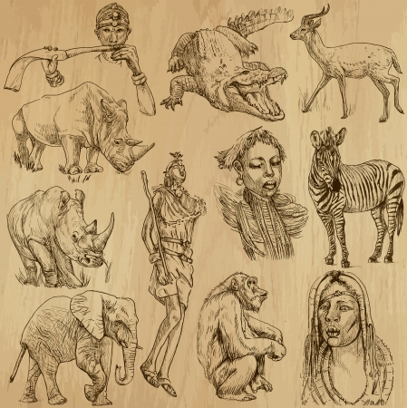 Traveling series  AFRICA - Collection of an hand drawn, original illustrations Vector