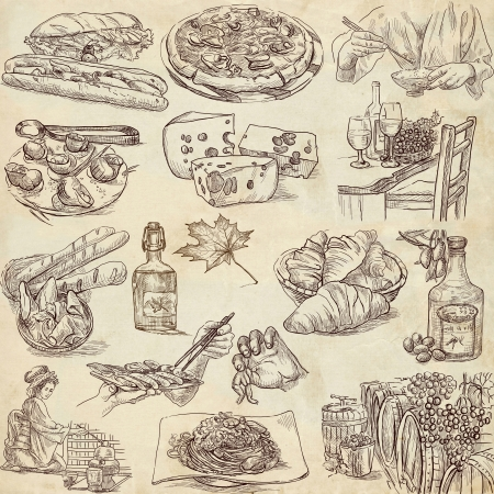 fine cuisine: Food and drink around the world - old paper