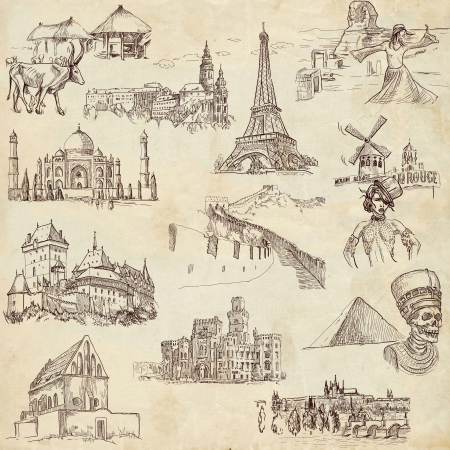 rouge: Famous places, buildings and architecture around the world - old paper