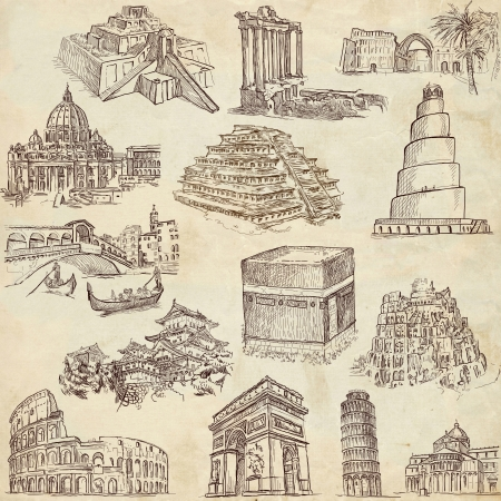 Famous places, buildings and architecture around the world - old paper texture photo