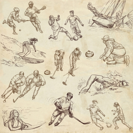 Sporting events - Collection of an hand drawn illustrations - old paper illustration