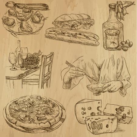 wijn en spijzen: Voedsel en keuken rond de wereld - de hand getekende illustraties omgezet in vectoren Stock Illustratie