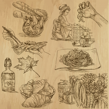 french cuisine: Food and Cuisine around the World - hand drawn illustrations converted into vectors