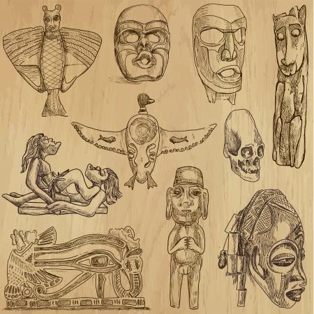 Arte Nativo y el Viejo alrededor del mundo - 2 Ilustración de vector