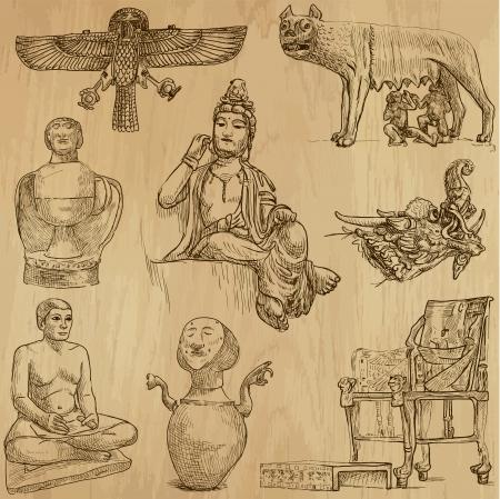trekken: Inheemse en oude kunst in de gehele wereld - 3 Stock Illustratie