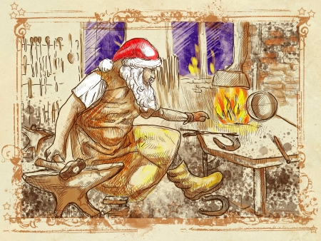 Christmas theme  Santa Claus in the smithy manufactures horseshoes  for his reindeers