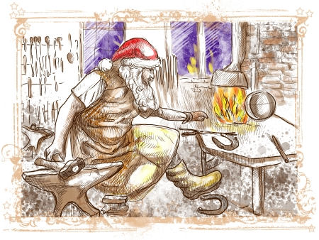 smithy: Christmas theme  Santa Claus in the smithy manufactures horseshoes  for his reindeers