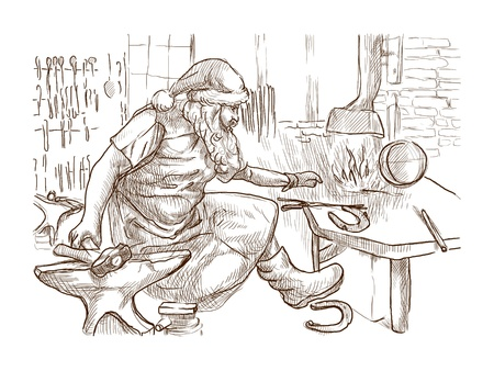 smithy: Santa Claus in the smithy manufactures horseshoes  for his reindeers