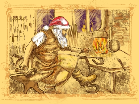 forge: Santa Claus in the smithy manufactures horseshoes  for his reindeers
