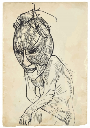 guise: Halloween theme with scary monster  Sad zombie sitting in the guise of a lobster on his head  Illustration