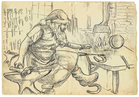 smithy: Babbo Natale nella fucina produce ferri di cavallo per le sue renne