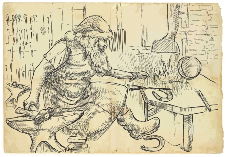 Santa Claus in the smithy manufactures horseshoes for his reindeers