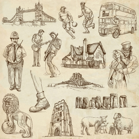 England traveling, old paper collection 02  Stock Photo