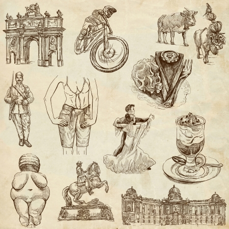 Traveling series  AUSTRIA, part 2 - Collection of an hand drawn illustrations on old paper  illustration
