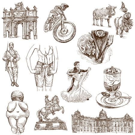 Traveling series  AUSTRIA, part 2 - Collection of an hand drawn illustrations on white  illustration