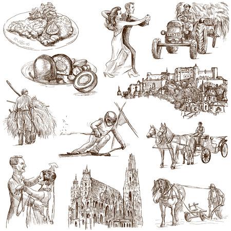 taxista: Viajando serie AUSTRIA, parte 1 - Colecci�n de ilustraciones dibujadas una mano en blanco