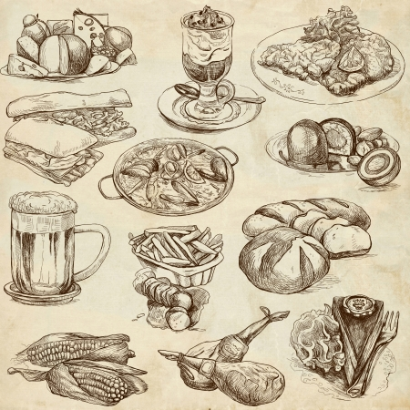 healthy foods: Food and Drinks around the World  set no 2, old paper set  - Collection of an hand drawn illustrations  Stock Photo