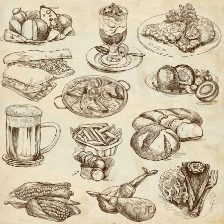 essen und trinken: Speisen und Getr�nke rund um die Welt gesetzt no 2, alte Papier-Set - Sammlung von einer Hand gezeichnete Illustrationen