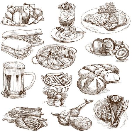 Cibo e bevande in tutto il mondo 2 - disegni a mano pieno di dimensioni su bianco Archivio Fotografico - 23244414
