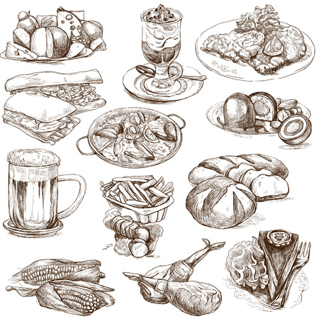 Food and Drinks around the World 2 - full sized hand drawings on white photo