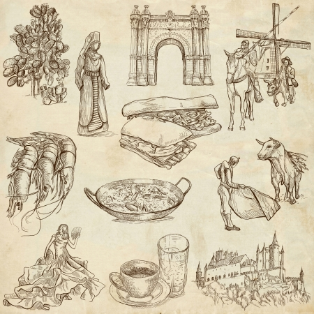 Traveling series  SPAIN, part 1 - Collection of an hand drawn illustrations on old paper  Stock Photo