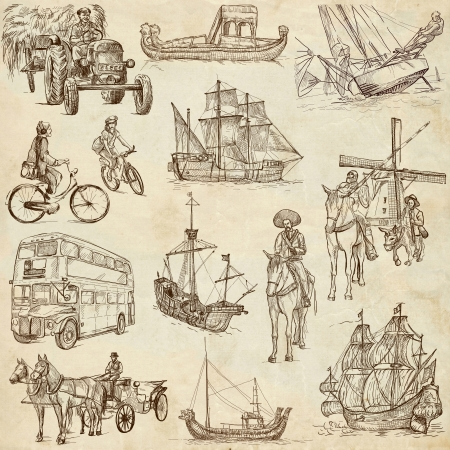 Transportation around the World 2 - full sized hand drawings on old paper