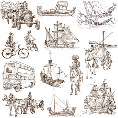 Transportation around the World  set no 2, white set   - Collection of an hand drawn illustrations  Stock Photo