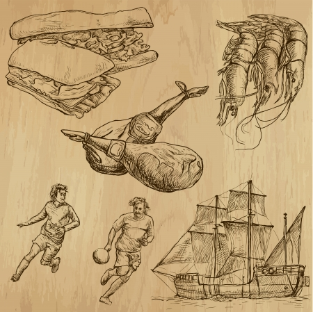 shrimp boat: traveling Spain - hand drawings into vector set 2